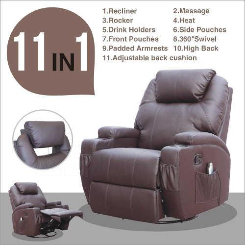 massage recliner leather sofa chair ergonomic lounge
