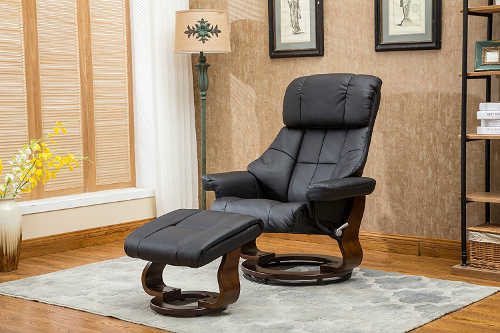 Mid Century Bonded Leather Modern Recliner Chair and Lounge Swivel with Mahogany Wood Base and Ottoman & Best Leather Recliners: Top 10 Modern Contemporary u0026 Classic Chairs islam-shia.org
