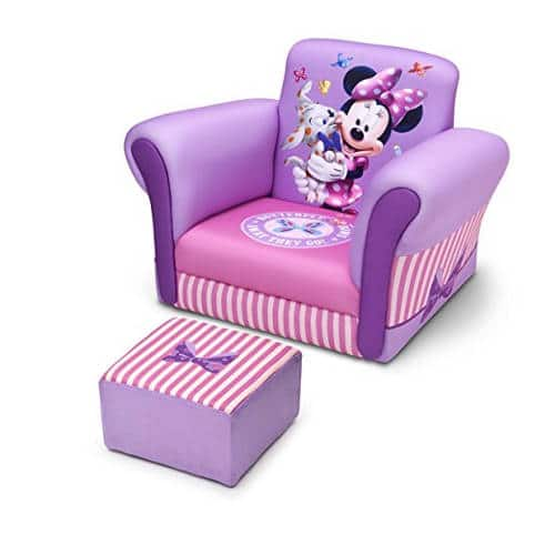 Delta Children Upholstered Disney Minnie Mouse Chair With Ottoman