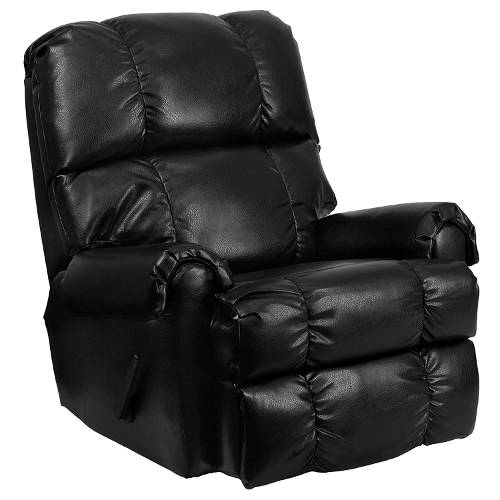 Lovely Contemporary Apache Black Leather Rocker Recliner