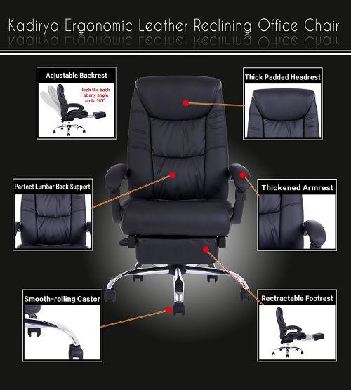 features pu leather upholstery high back design maximum lumbar support soft padding waterfall seat edge adjustable design ergonomic
